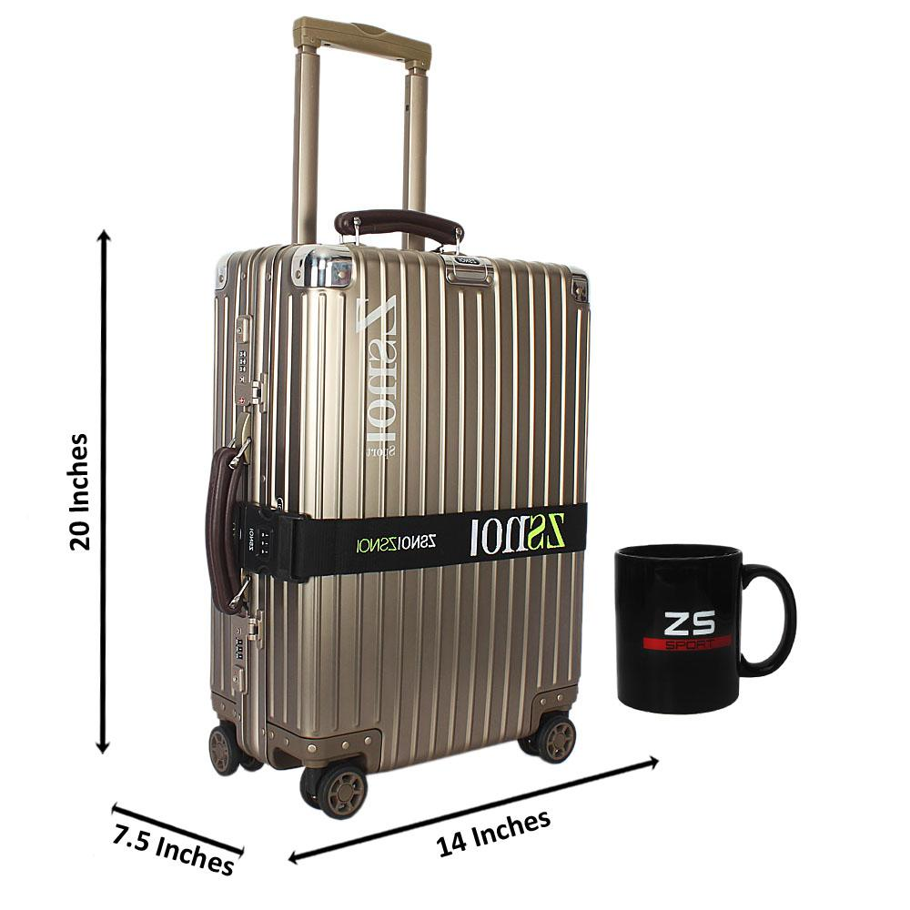 Gold Secret Agent Aluminum 20 Inch Carry on Suitcase wt Leather Handles
