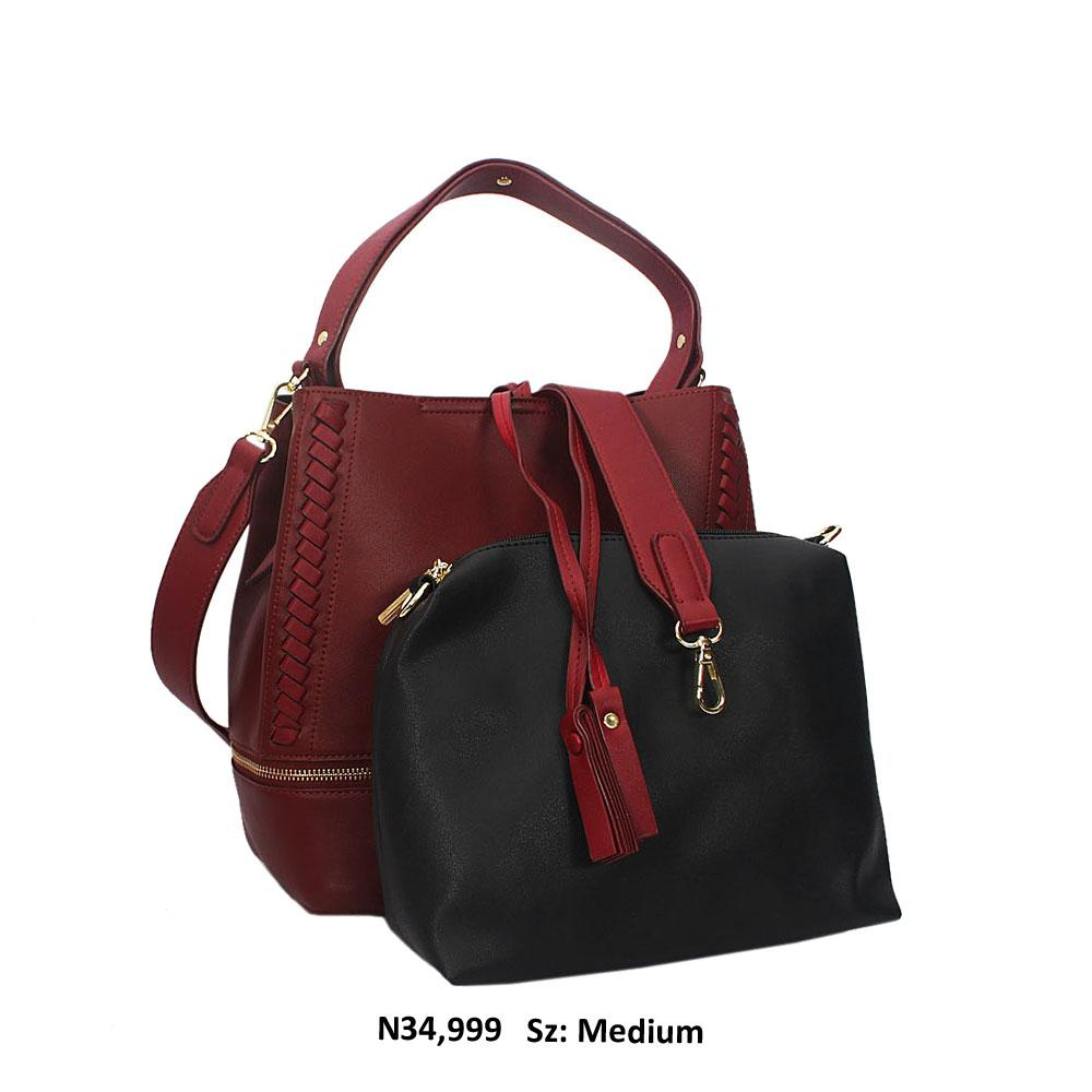 Wine Aly Leather Shoulder Handbag