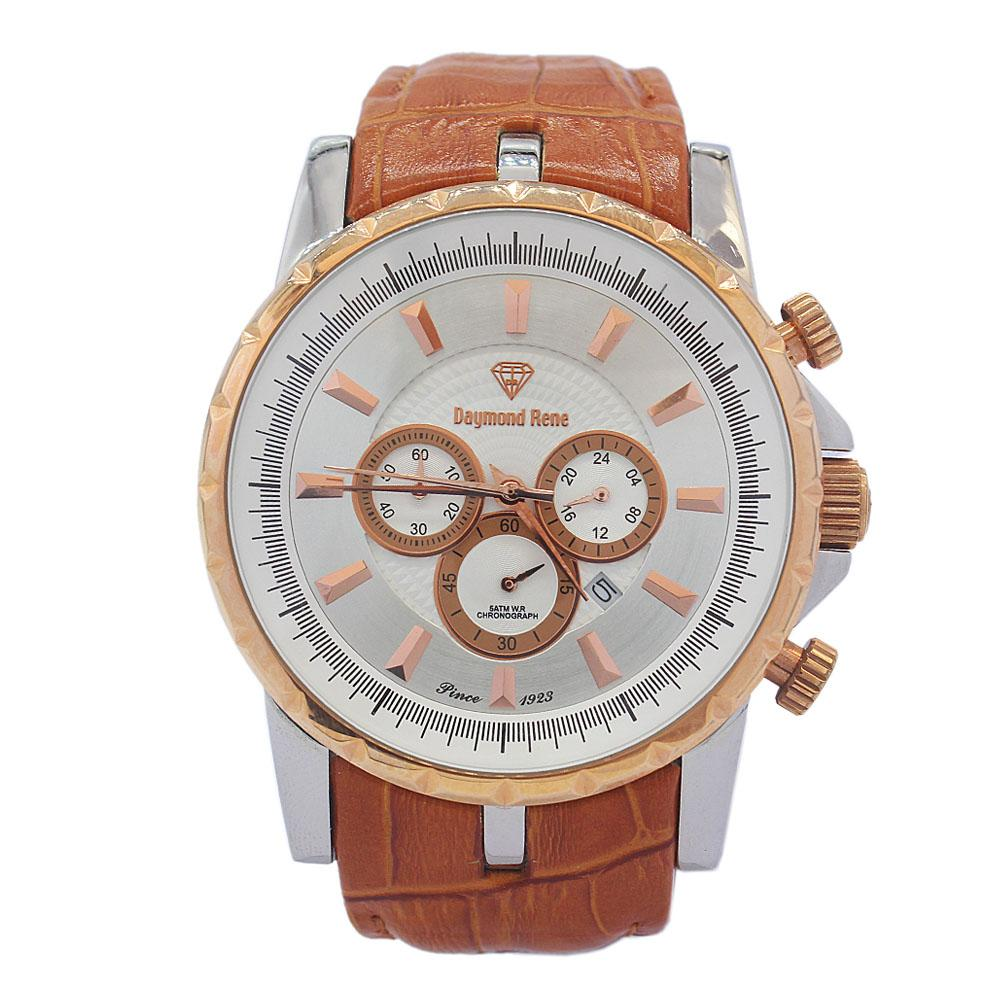 DR 5ATM Gold Brown Leather Chronograph Watch