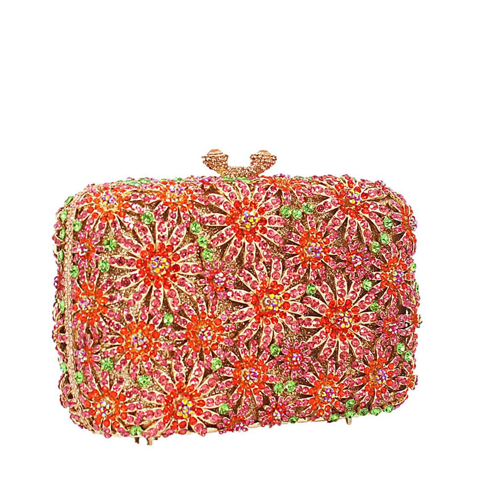 Gold Multicolor Diamante Crystals Clutch Purse