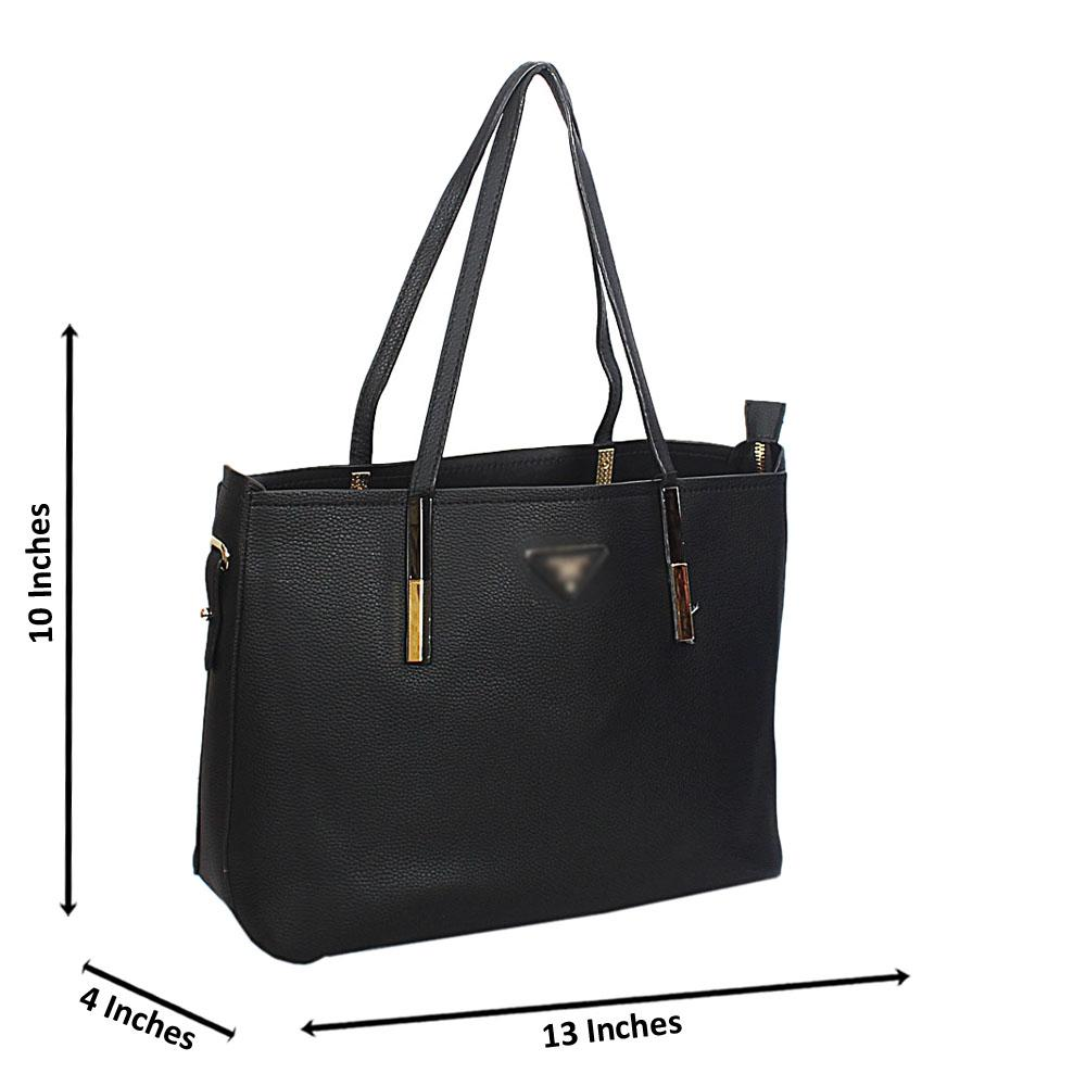 Black Leather Long Strap Shoulder Handbag