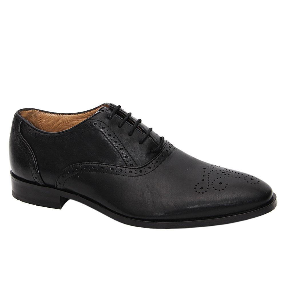 Black Geralt Leather Men Oxford Shoes