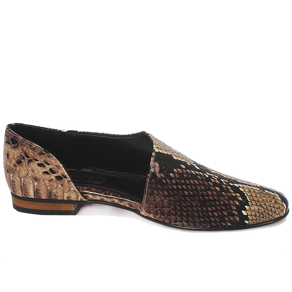 Sz 37 Brown Snake Skin Leather Flat Ladies Shoes