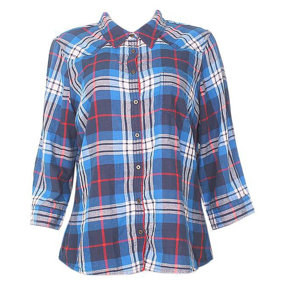 M  &  S Woman Blue Mix 3-4 Sleeve Pure Cotton Ladies Shirt-UK 22