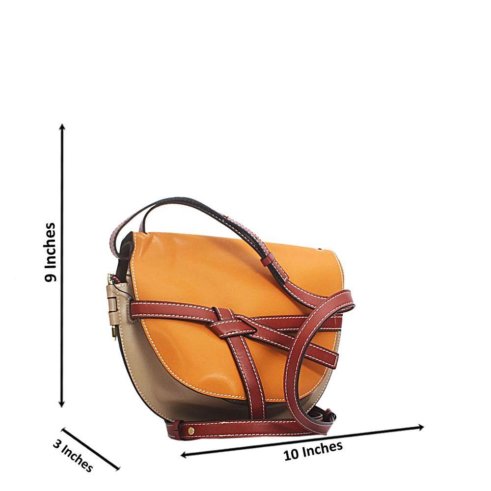 Brown Beige Pisa Cow Leather Saddle Handbag