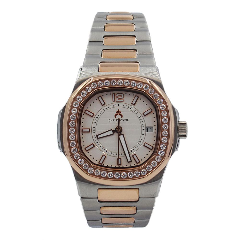 Rose Gold Silver Ice Stainless Steel Ladies Watch