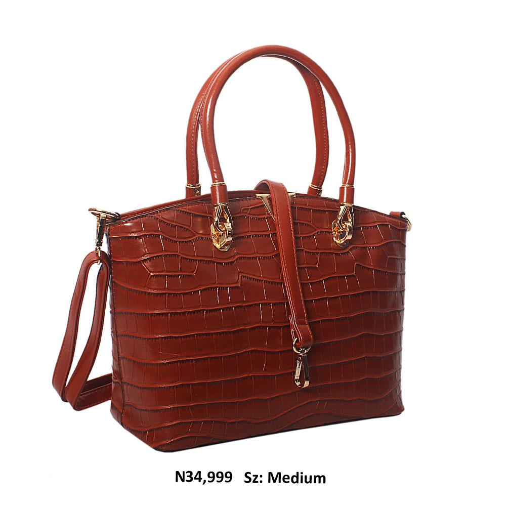 Brown Regina Croc Style Leather Tote Handbag