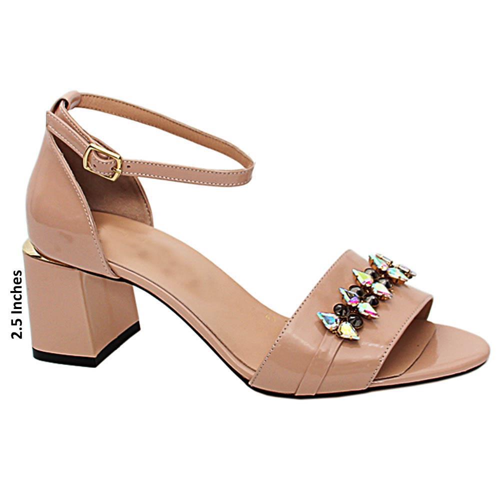 Nude Fina Pearl Patent Italian Leather Mid Heels