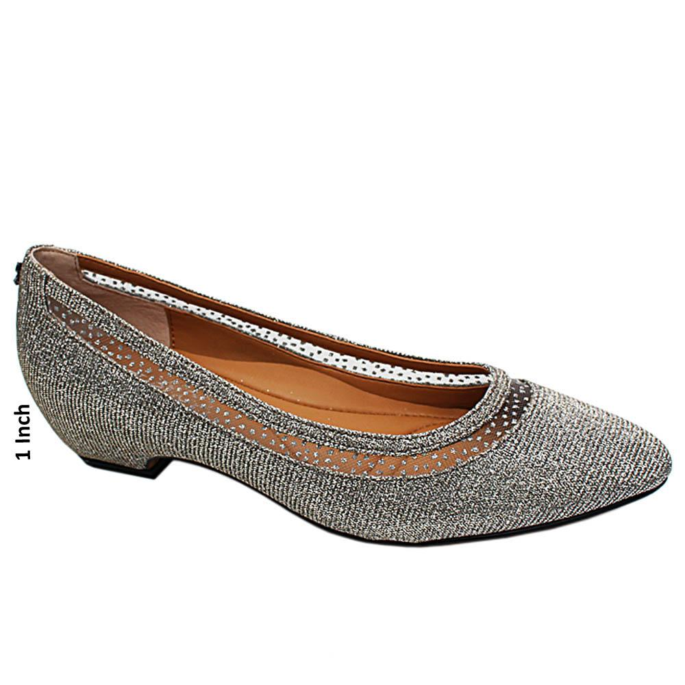 Silver Natalie Glitters Leather Low Heel Pumps