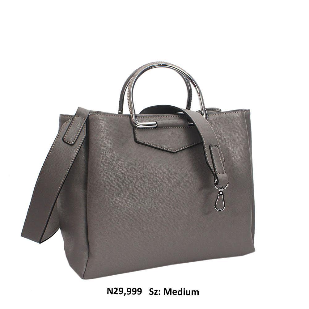Grey Enrica Leather Meallic Handle Tote Handbag