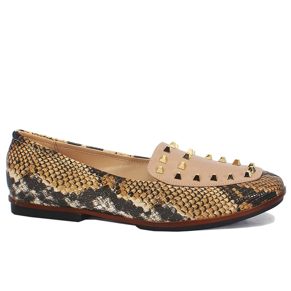 Brown Snake Skin Studded Leather Flat Shoes