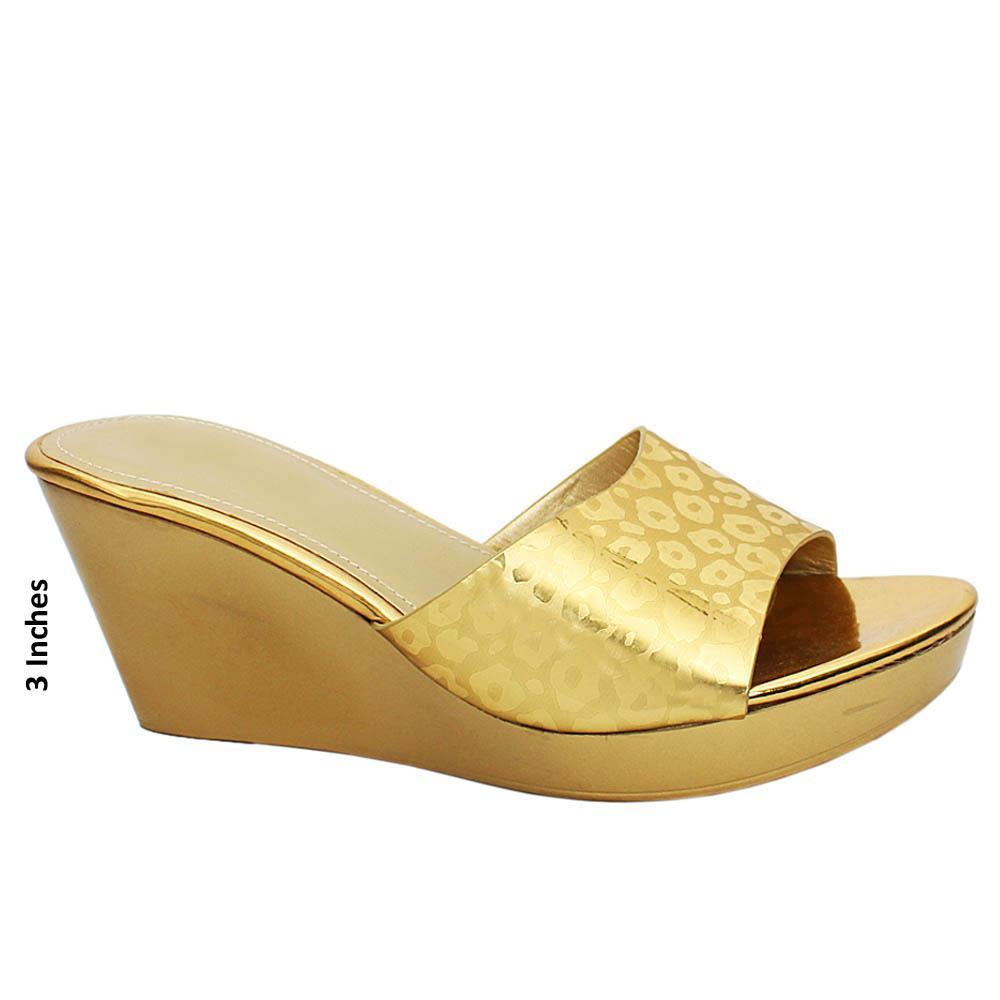 Gold Monet Embossed Leather Wedge Heels