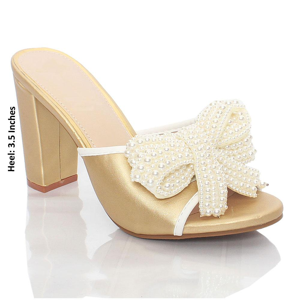 Gold Pearl Bow Leather High Heel Mule