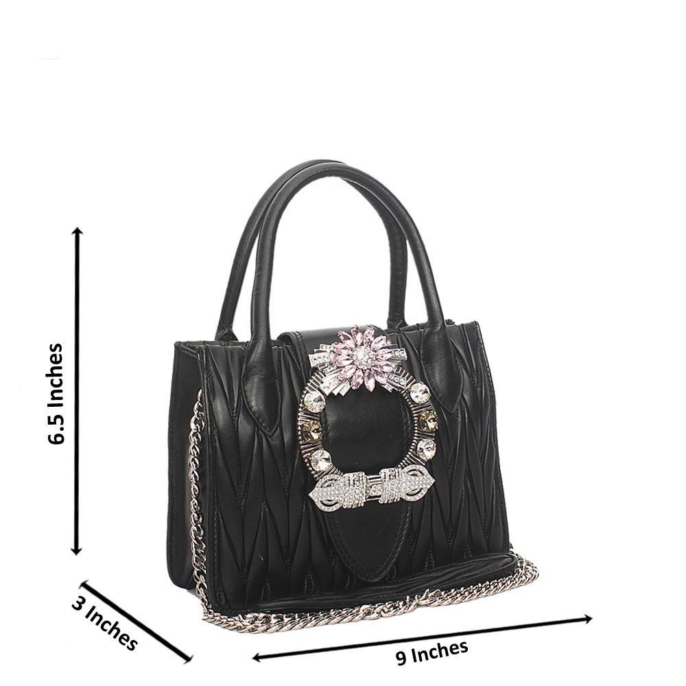Black Crytals Mini Tote Handbag