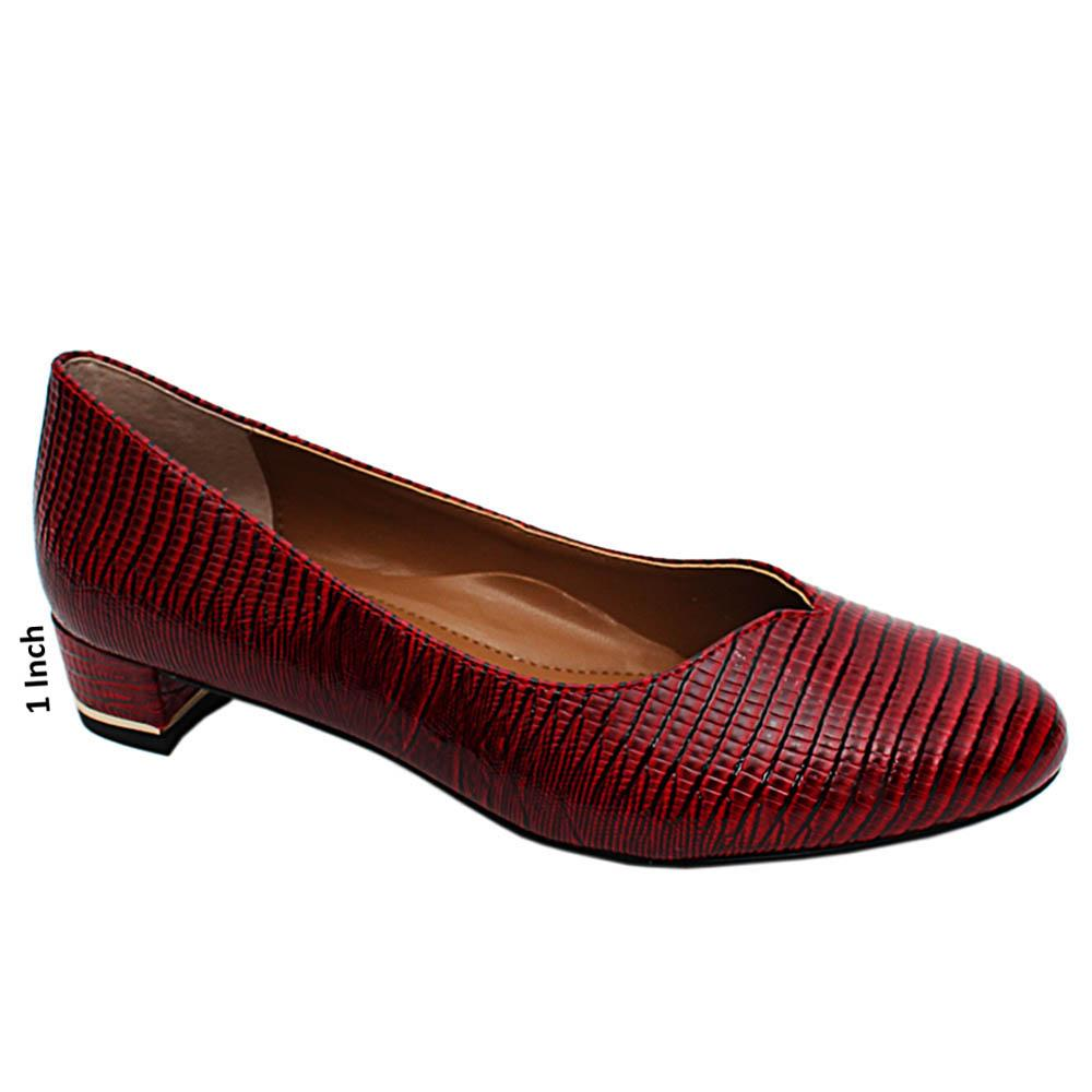 Wine Sicilia Snake Petent Leather Low Heel Pumps