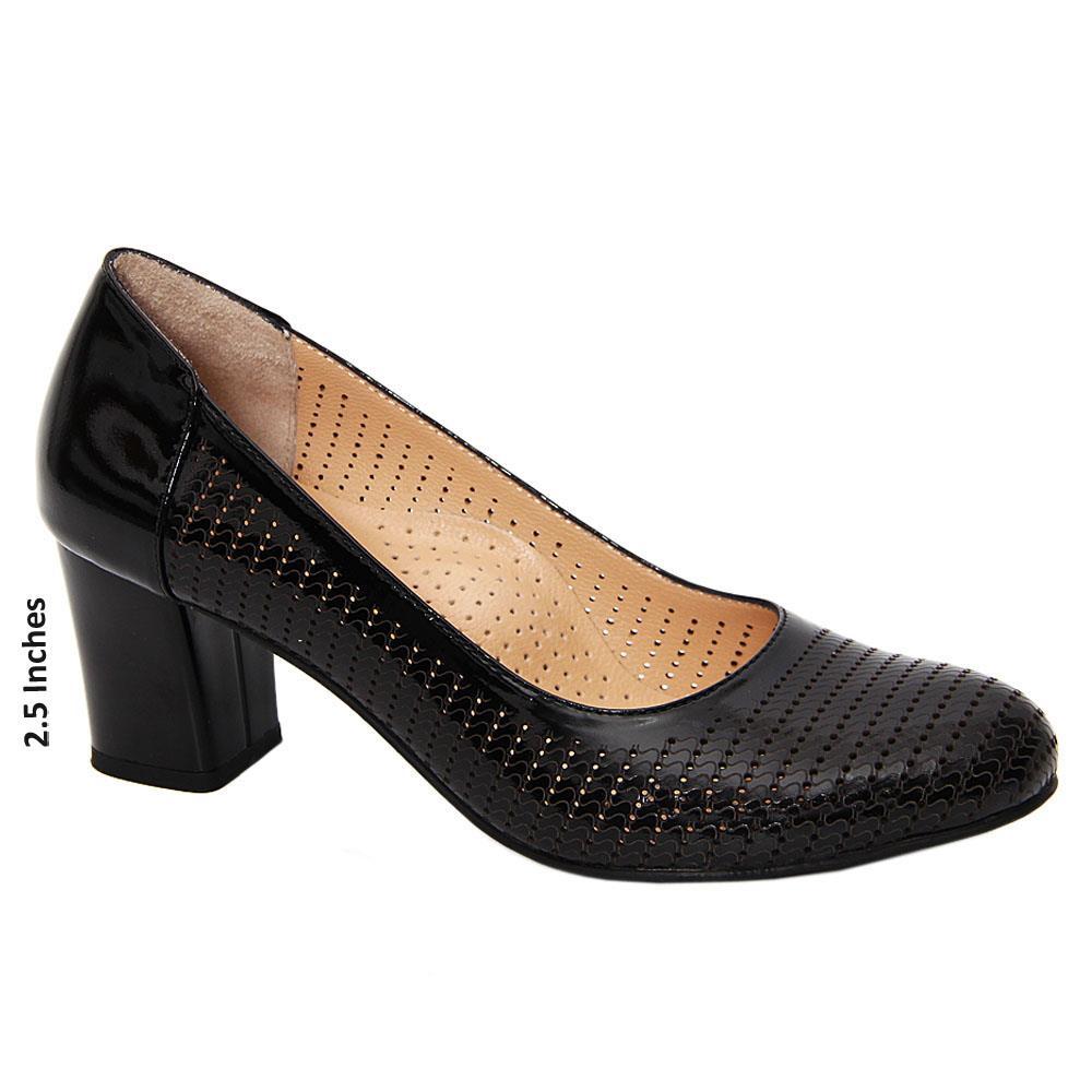 Black Fabiana Tuscany Leather Breatheable Mid Heel Pumps