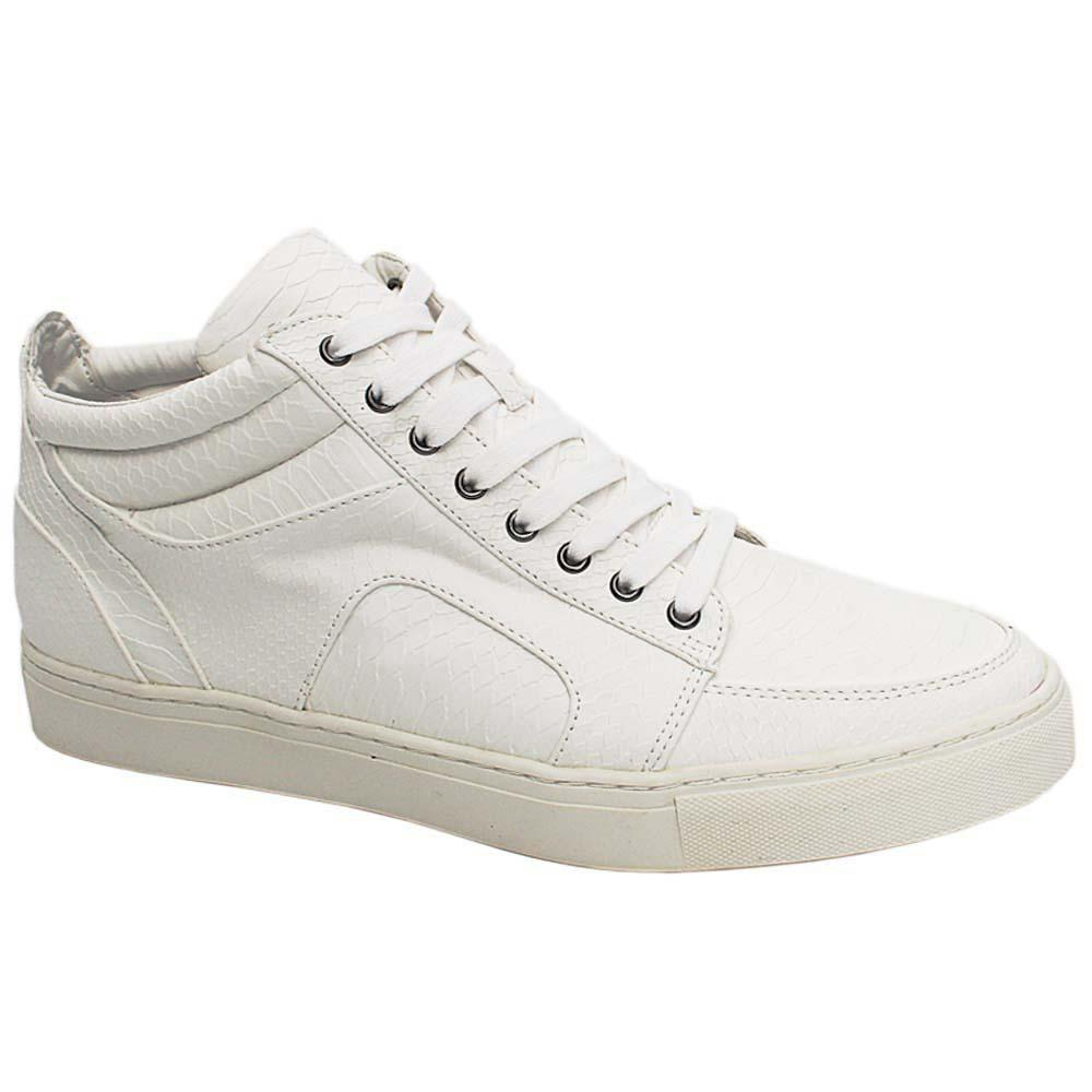 K Geiger White Romford Croc Leather Men Ankle Sneakers