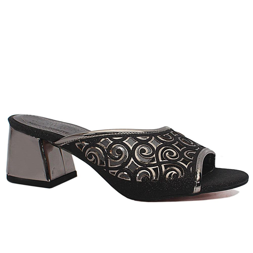 Leire Black Open Toe Shimmering Leather Low Heel Slippers