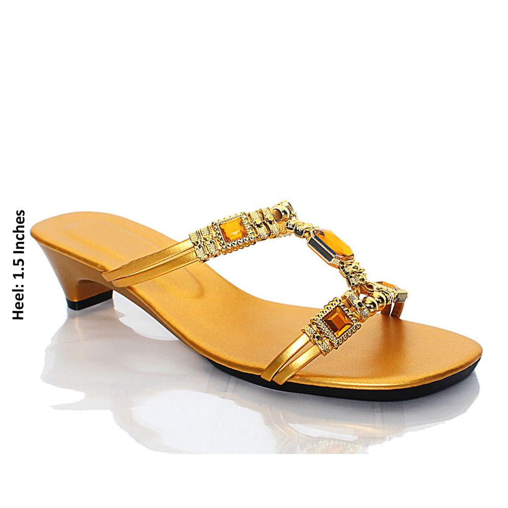 Gold AG Crystal Studded Leather Mule