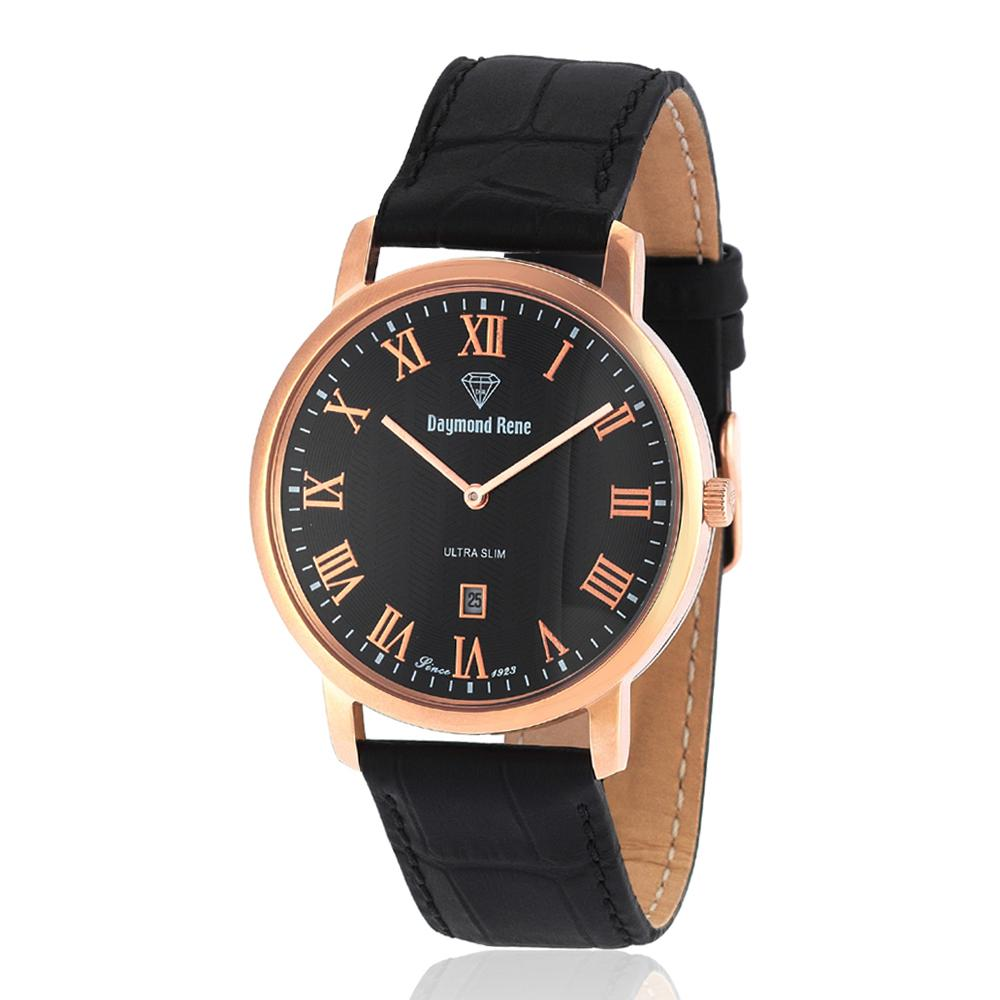 Black Rose Gold Leather Flat Watch