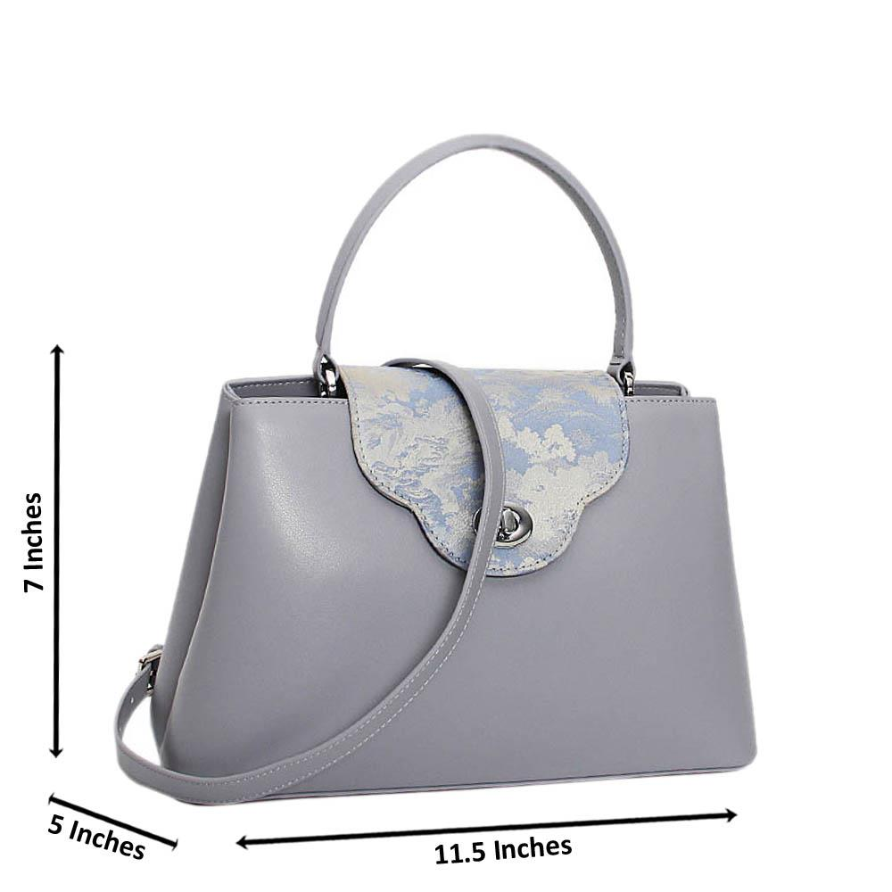 Gray Carmella Premium Leather Medium Handbag