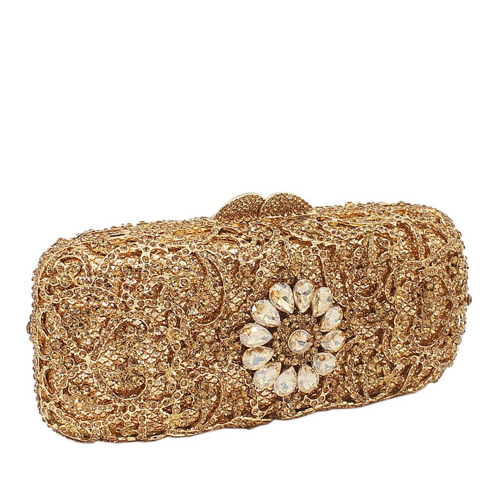 Gold Diamanted Crystals Clutch Purse