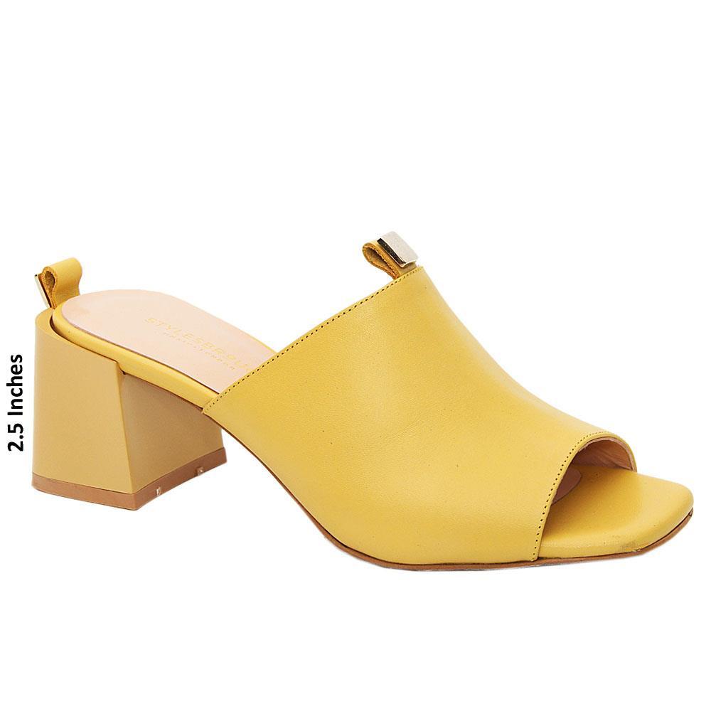 Mustard Yellow Madeline Tuscany Leather Mid Heel Mule