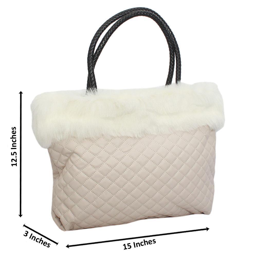 Beige Molly Fury Tuscany Leather Shoulder Handbag