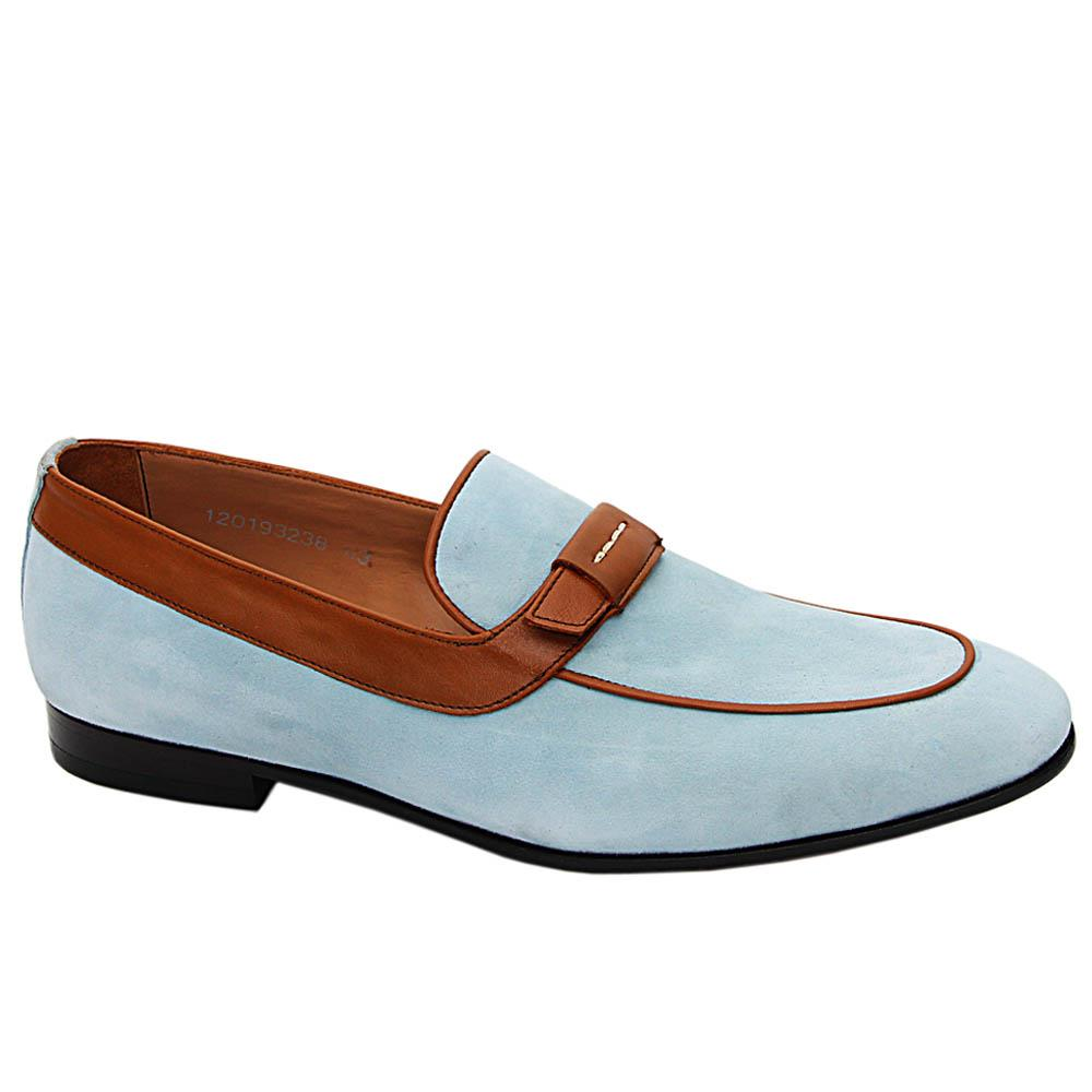 Aqua Blue Romeo Suede Italian Leather Loafers