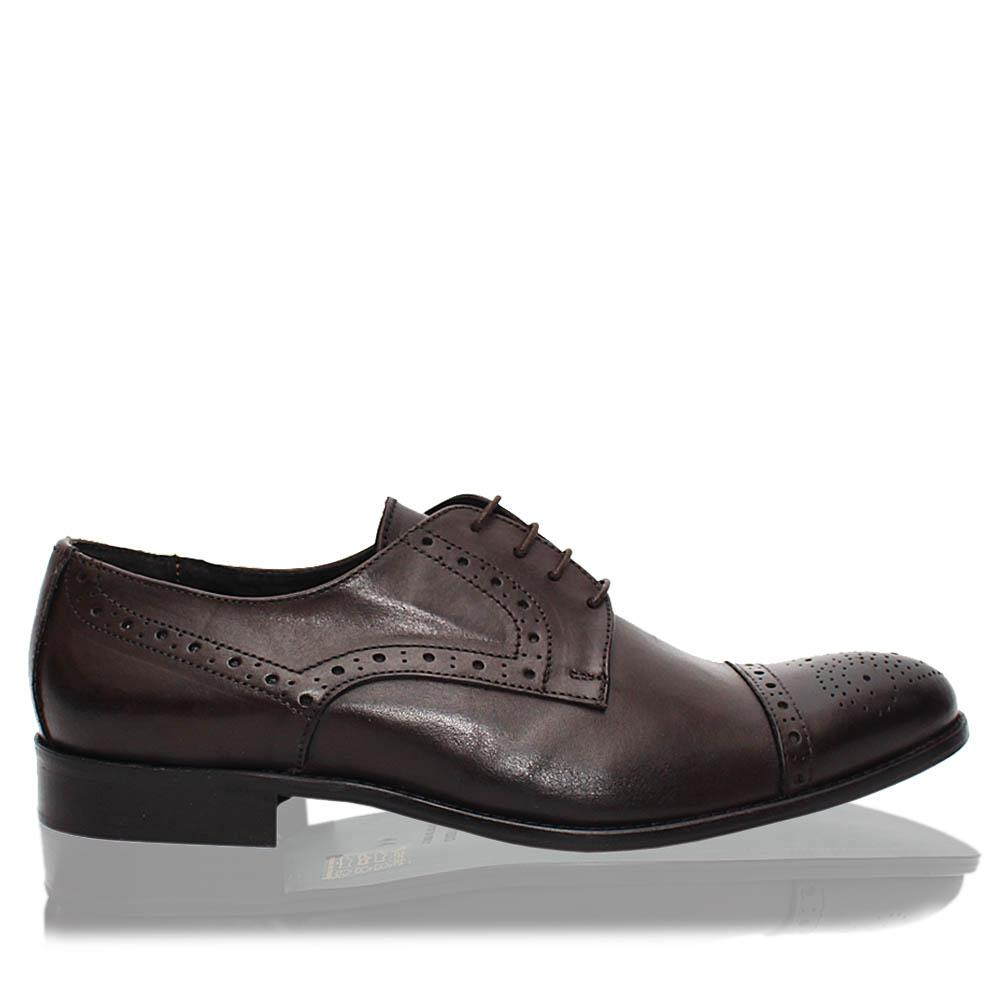 Coffee Cesare Italia Leather Men Derby Shoes