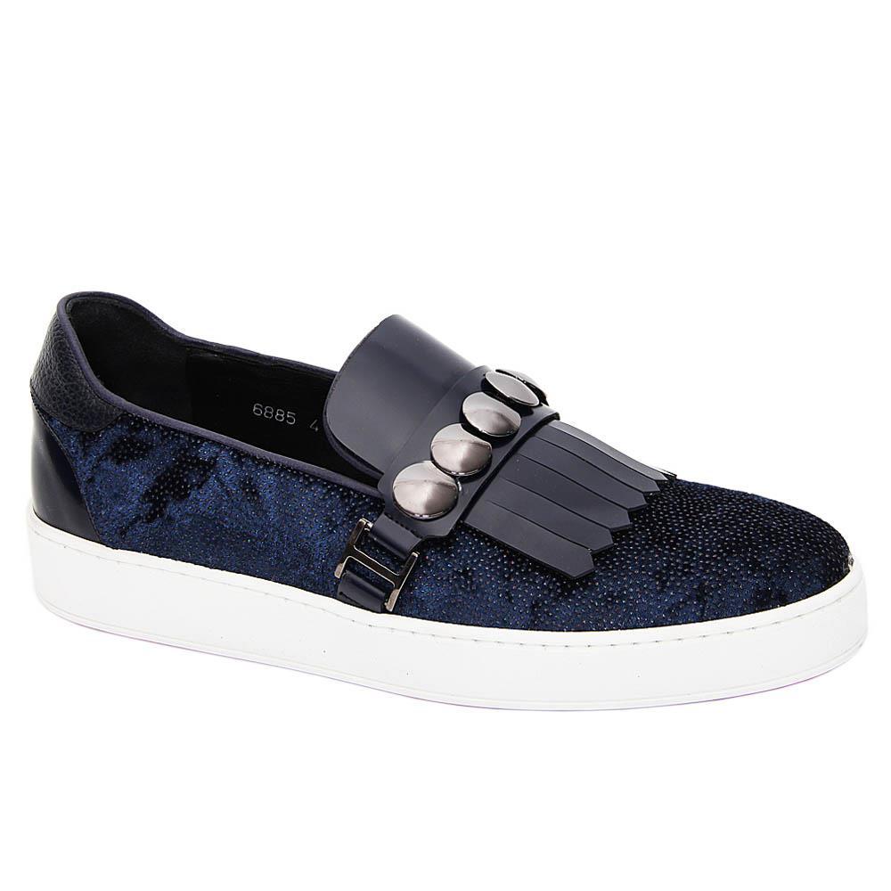 Navy Duran Velour Italian Leather Fringe Slip-On Sneakers