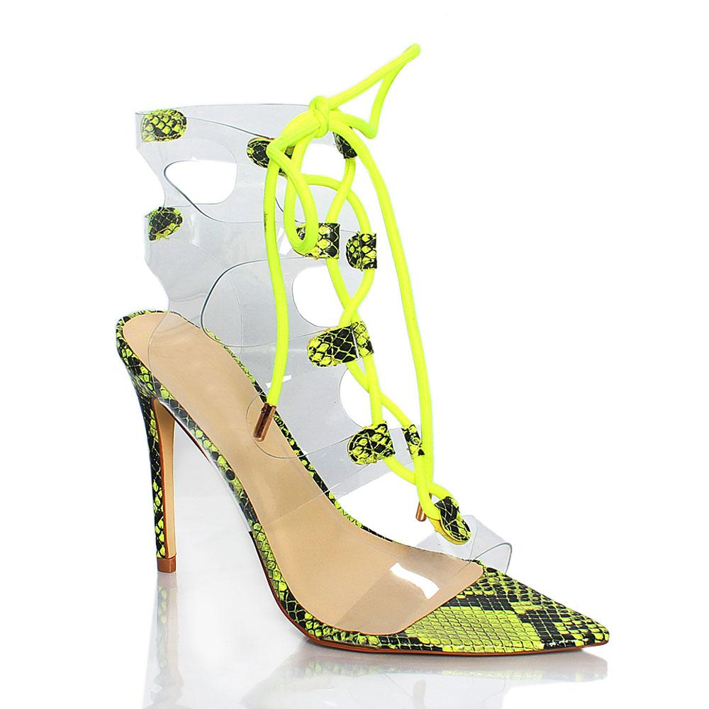 Green Snake Skin Rubber AM Grommet Lace Up Heels