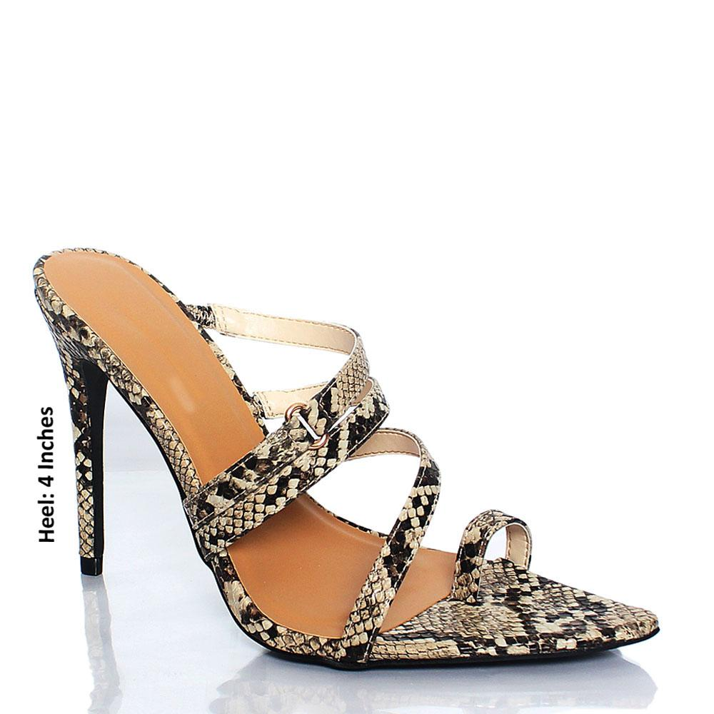 Monochrome Snake Leather AM Florence Leather High Heel Mule