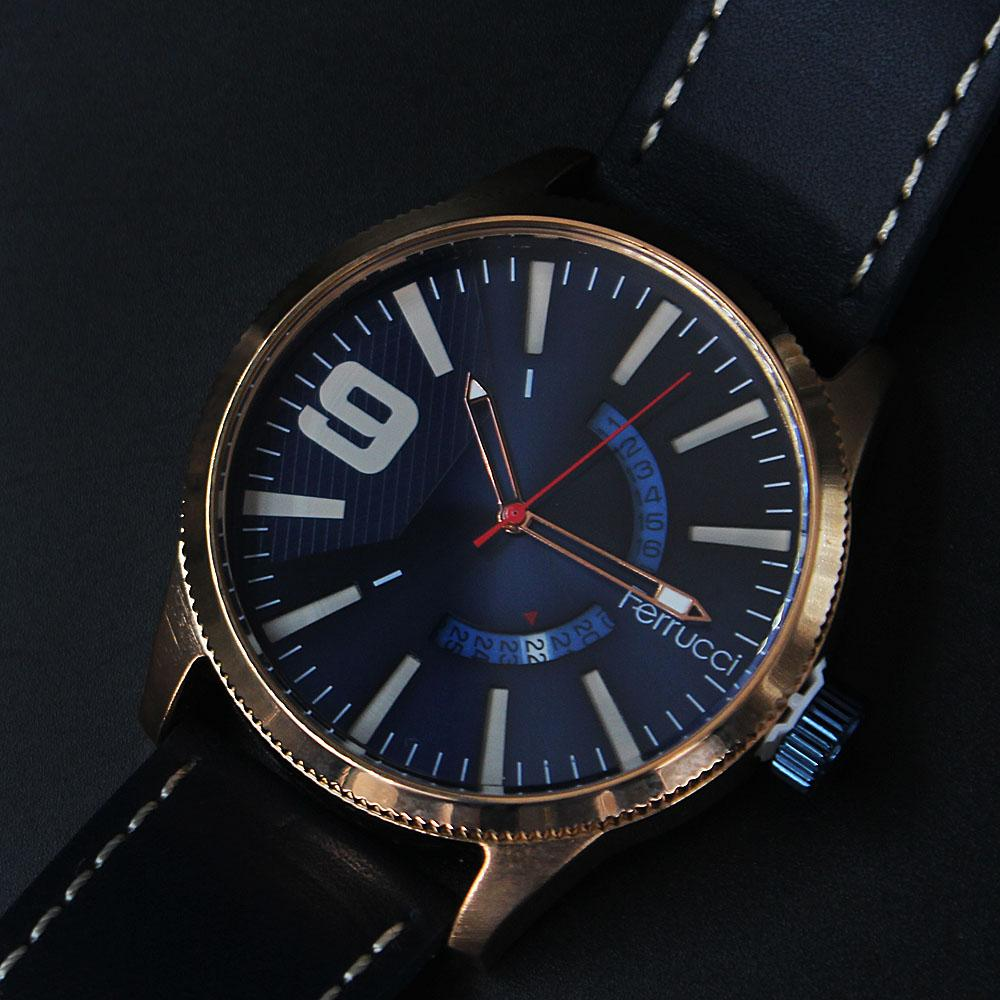 Etched Rose Gold Navy Leather Watch