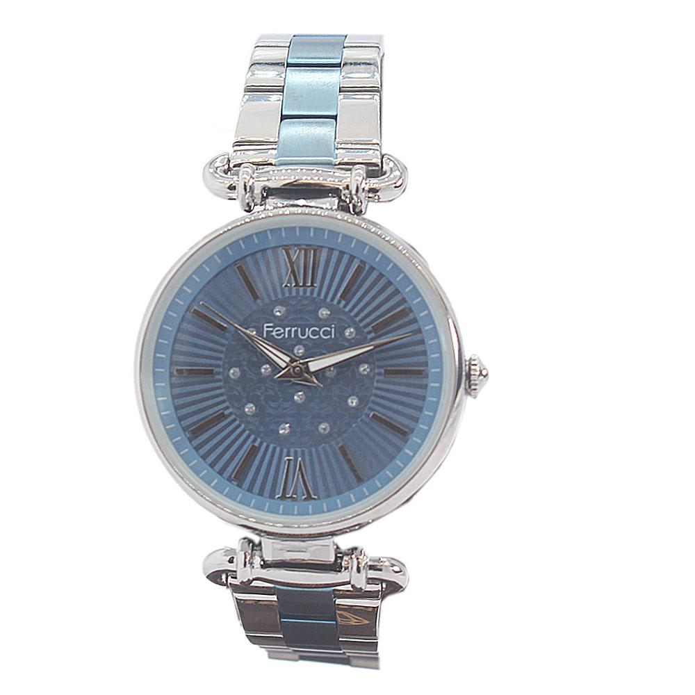 Ferrucci Romania Blue Silver Mesh Ladies Watch