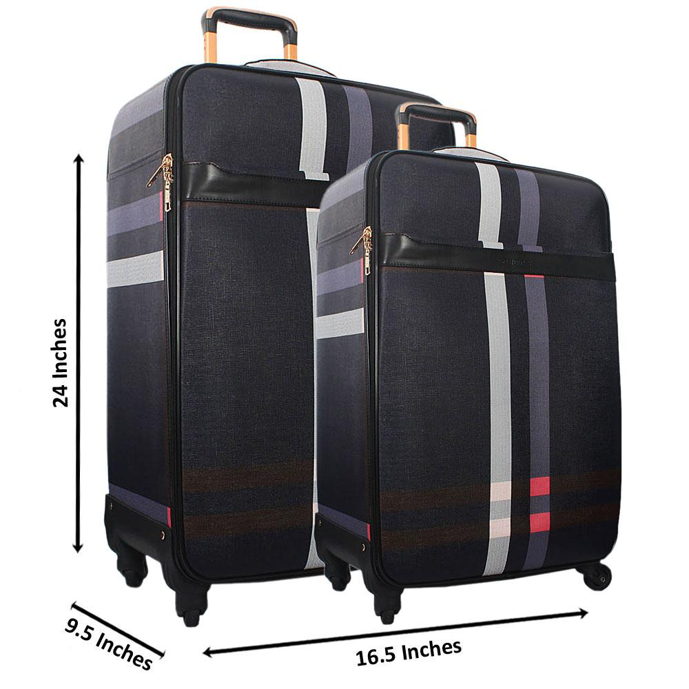 Purple Mix 24 Inch Wt 20 Inch 2 in 1 Leather Luggage Set