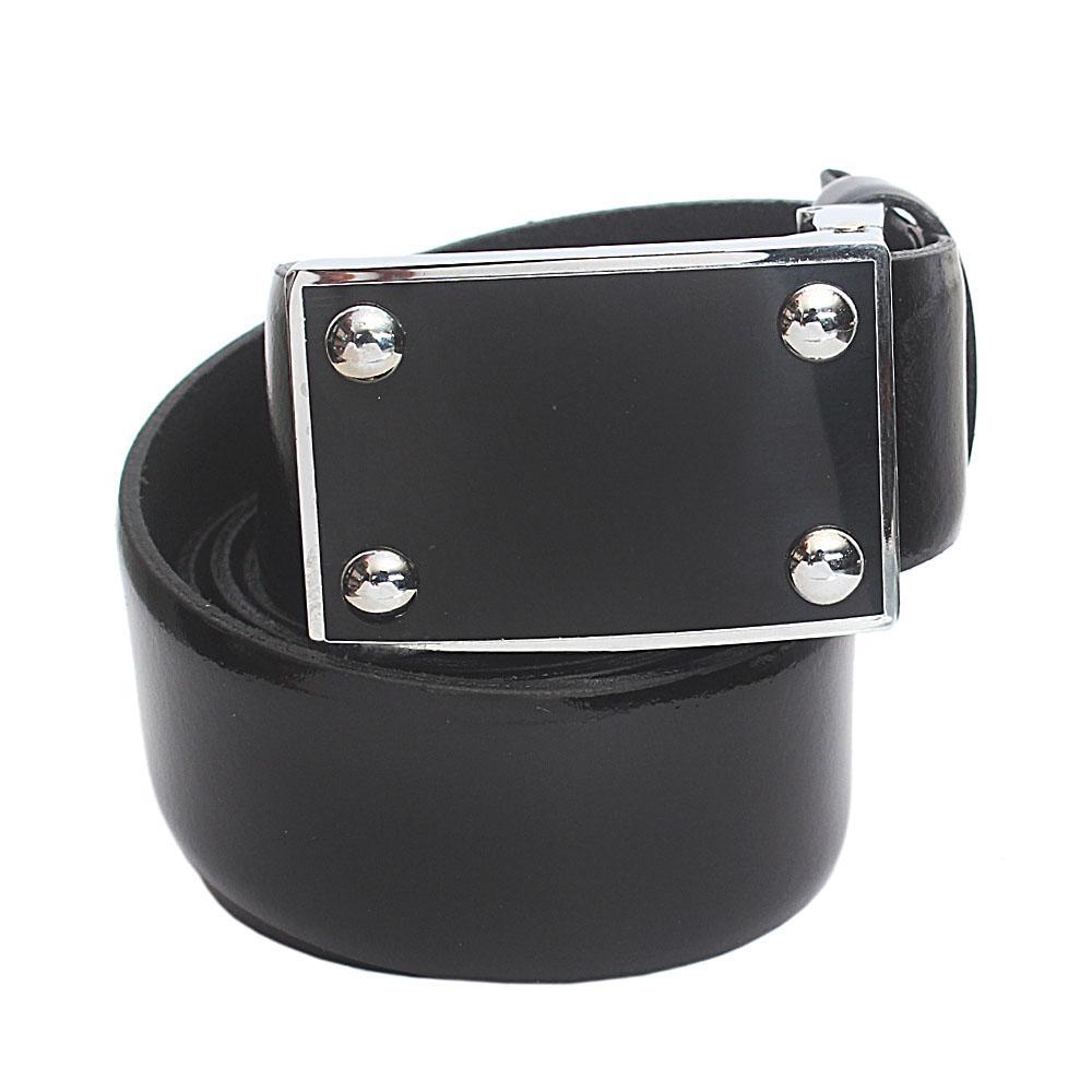 Black Patent Italian Leather Flat Belt L 41 Inches