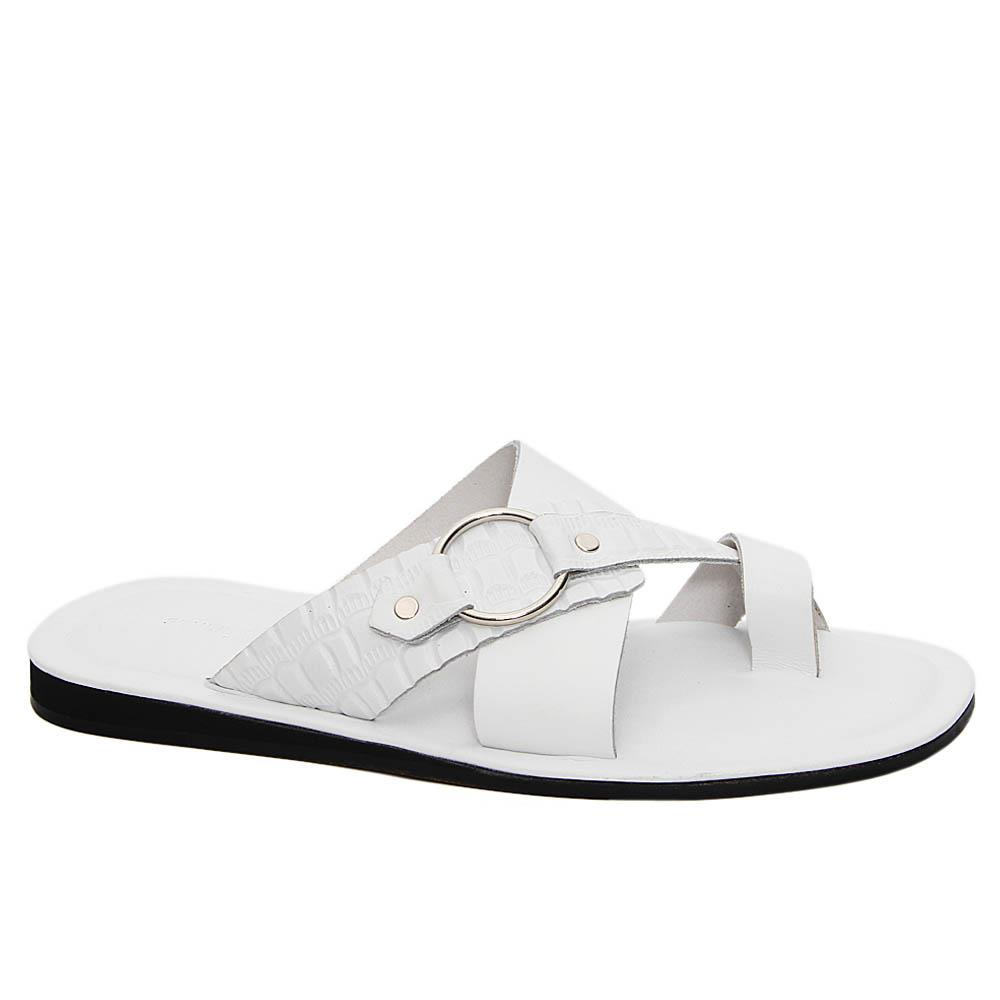 White Franco Crossover Italian Leather Slippers