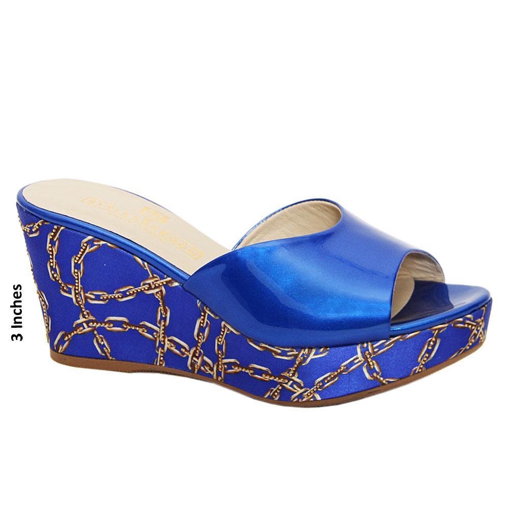 Blue Catalina Studded Italian Leather Wedge