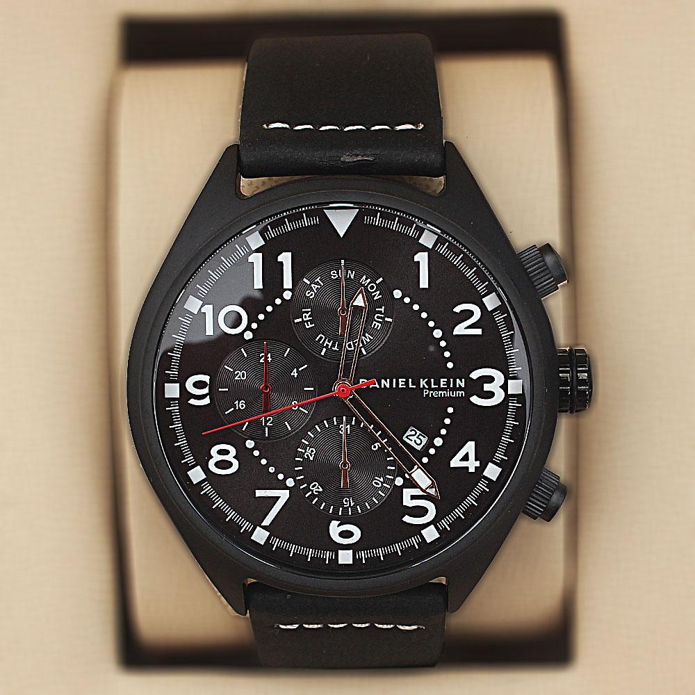 Daniel Klein Safari Black Leather Pilot Series Watch