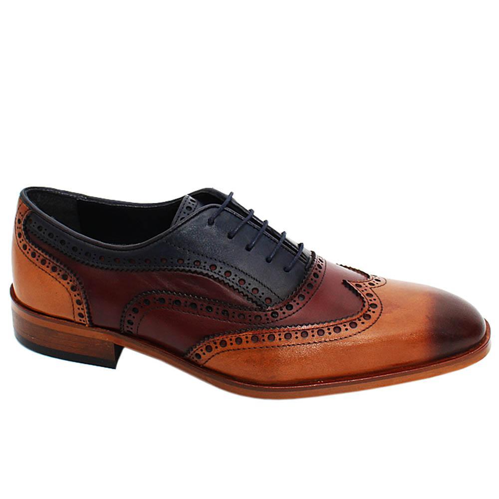 Brown Mix Jason Arthur Leather Oxford Shoes