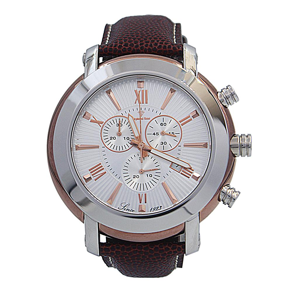 Brown Silver Leather Chronograph Watch