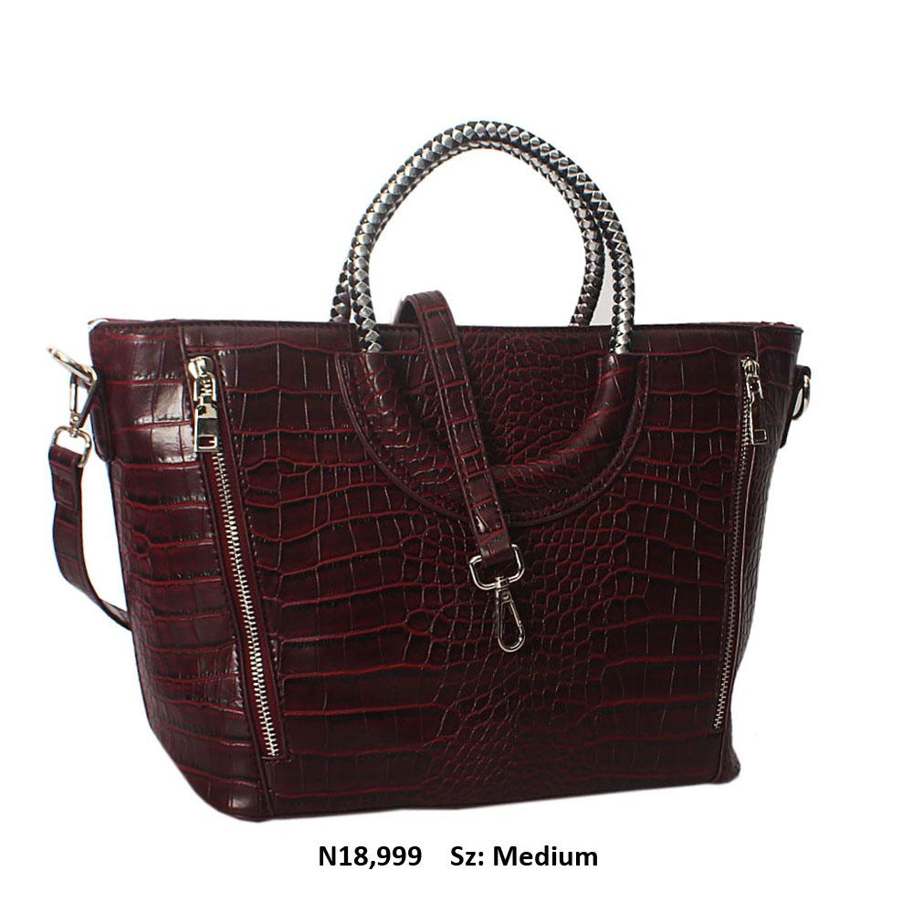 Wine Megan Croc Leather Woven Handle Tote Handbag