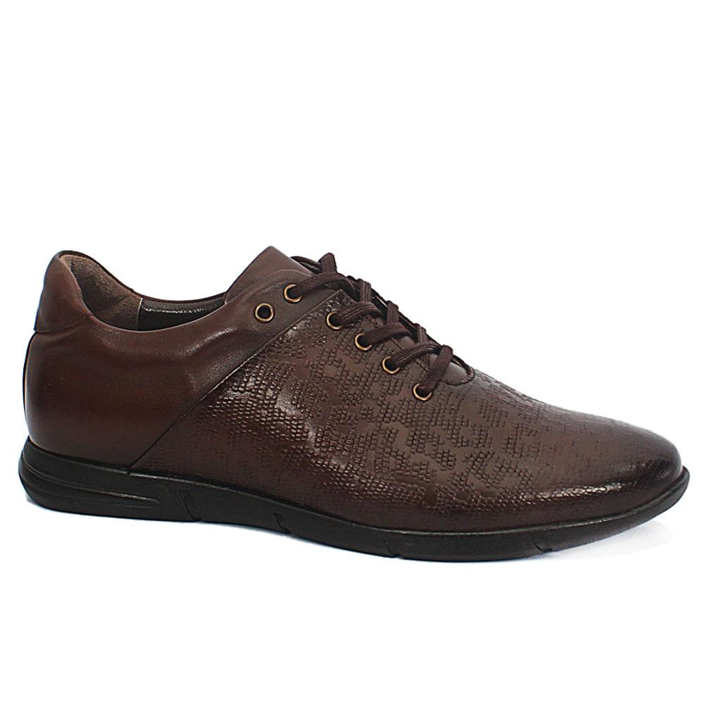 Andrea Brown Embossed Leather Sneakers