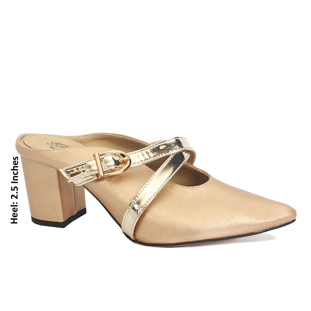 Gold Leather Pointed Toe Block Heel