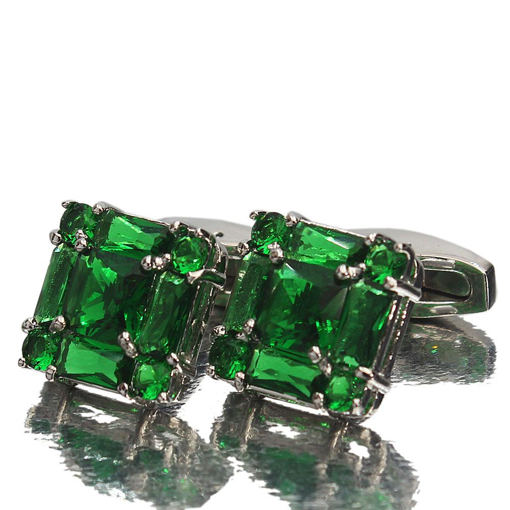Silver Green Diamond Ice Stainless Steel Cufflinks
