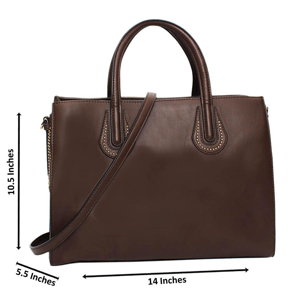 Coffee Acadia Leather Large Tote Handbag