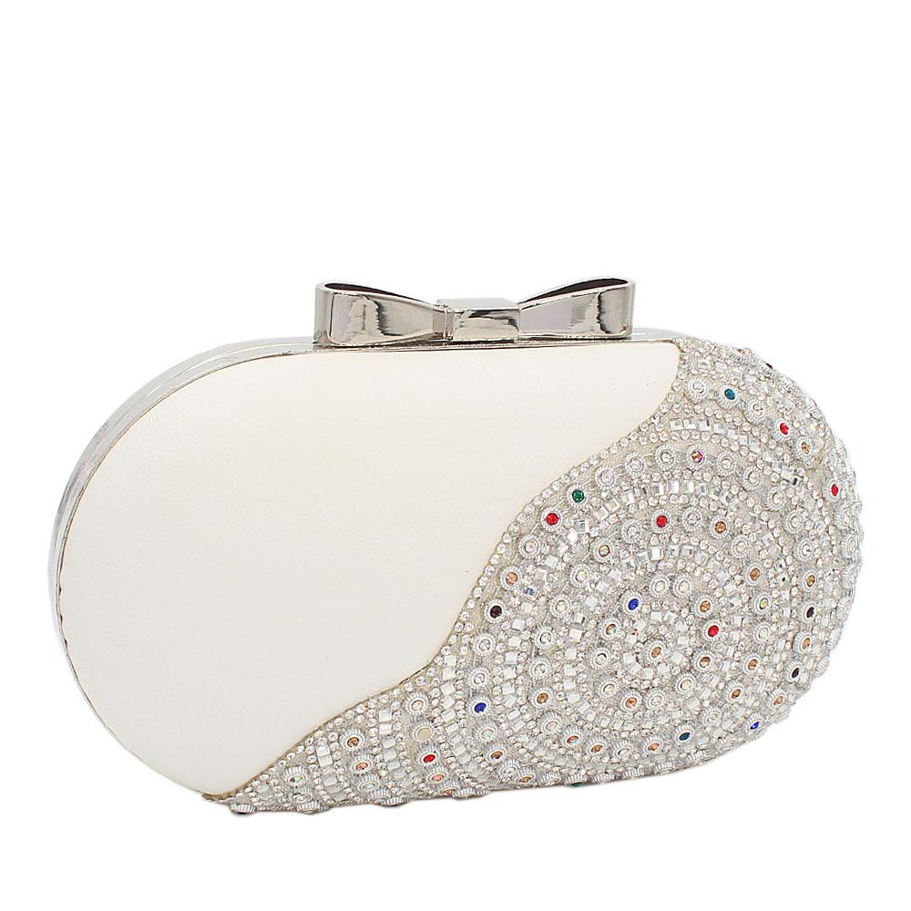 White Paris Hutton Leather Clutch Purse