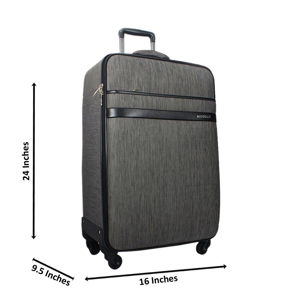 Grey 24 Inch Leather Medium Check-In Luggage