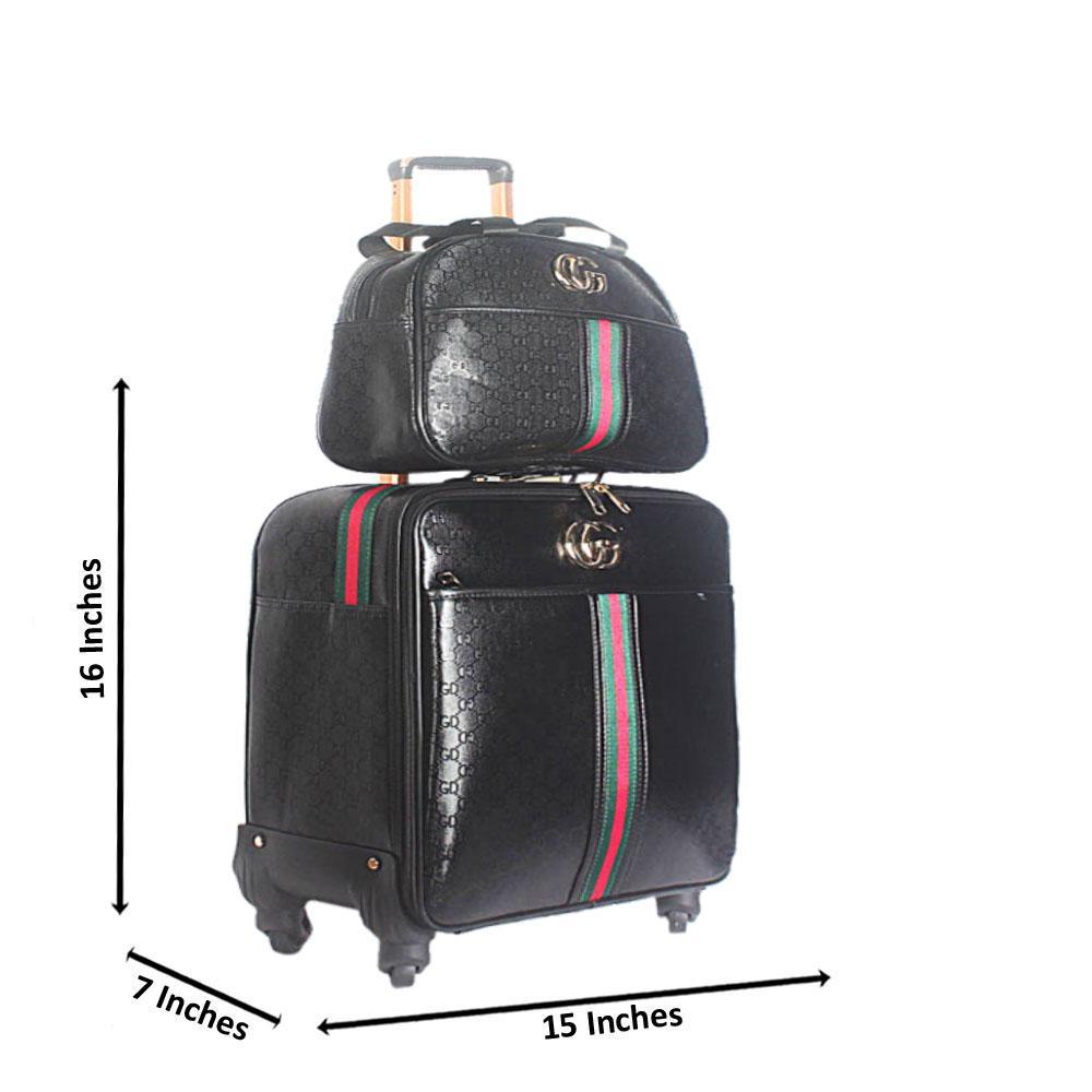 Black 16 Inch Leather 2 in 1 Pilot Suitcase Wt Lock